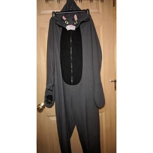 Black/gray cat onesie with paws and tail